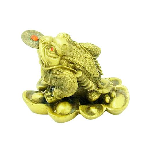 Bronze Three Legged Toad on Bed of Ingots