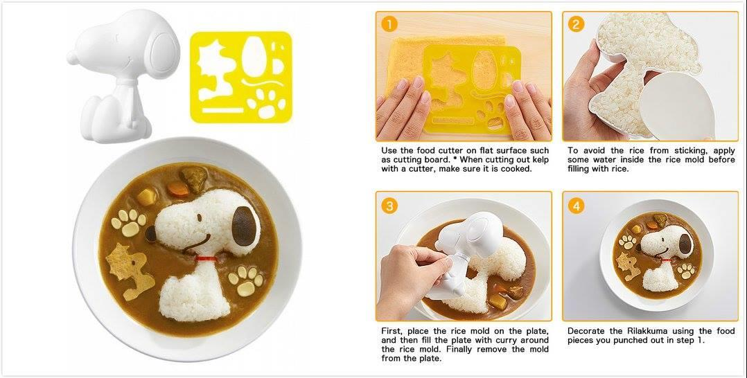 BT0409 SNOOPY BENTO RICE MOLD & CUTTER SET
