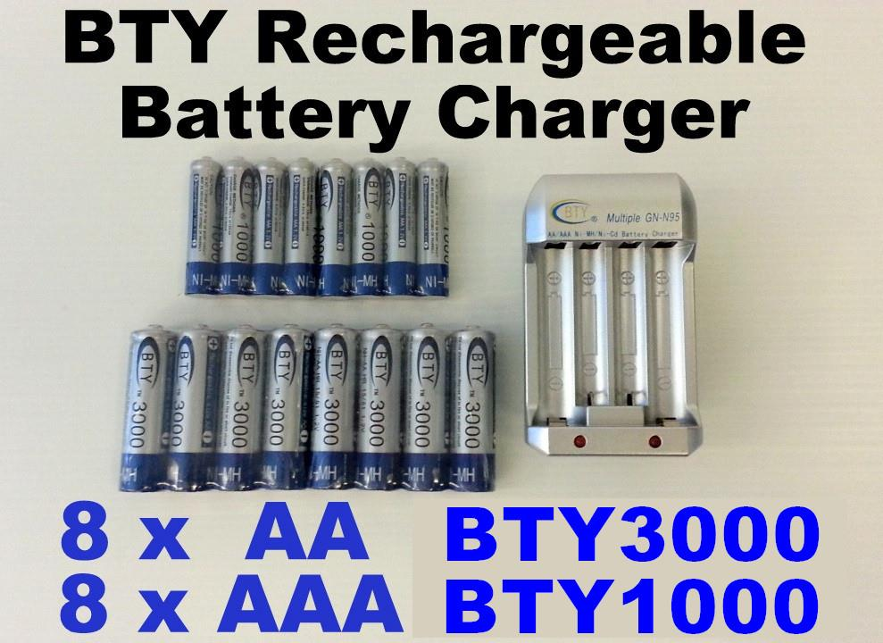 BTY Rechargeable Battery Charger Set +8 x AAA BTY1000+8 x AA BTY3000