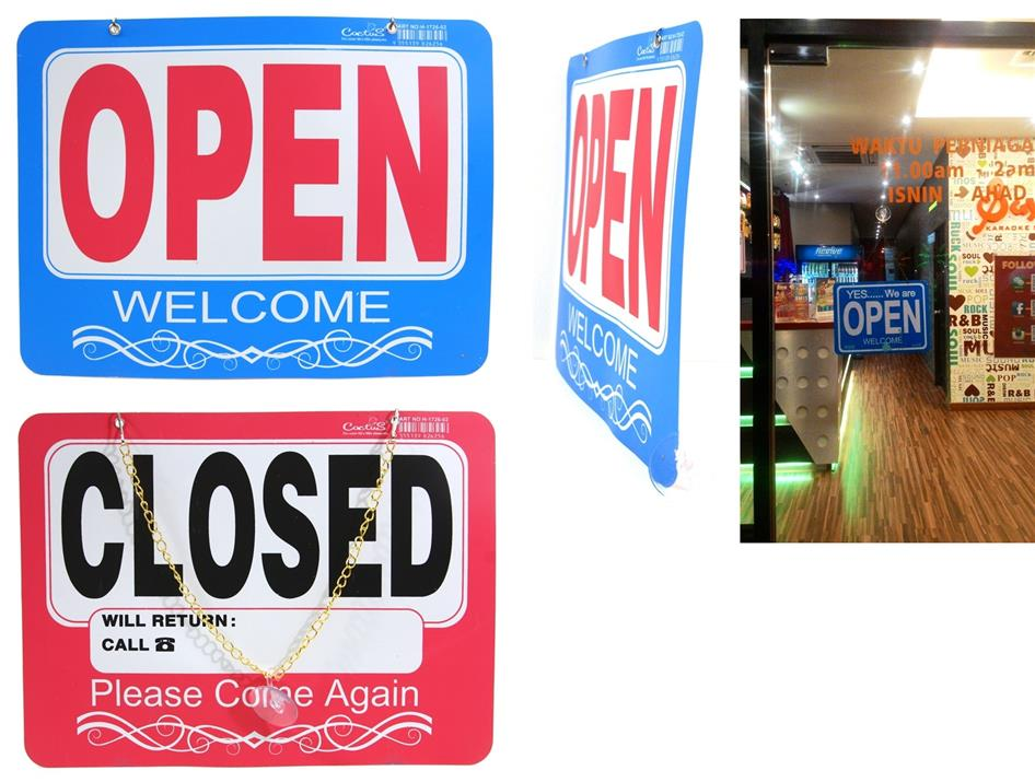 Business OPEN & CLOSE Sign Plate Display Board With Hanger