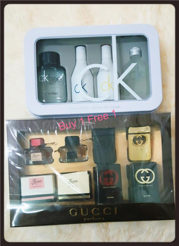 BUY 1 FREE 1 Calvin Klein CK 4 Pcs Miniature + Gucci Miniature Set