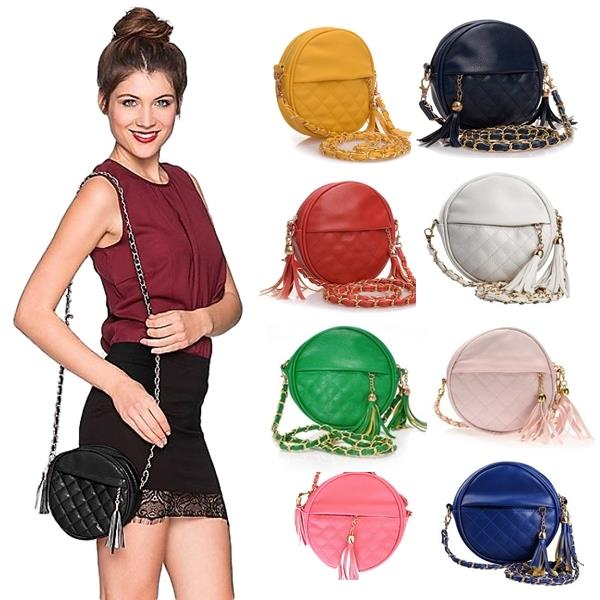 ~BUY 1 FREE 1~ Stone Round Quilted Mini Sling Bag PU Leather Tassel