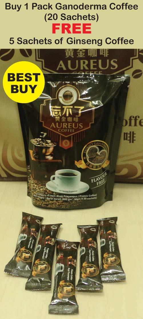 Best Buy 1 Pack AUREUS Ganoderma Coffee FREE 5 Sachets Ginseng Coffee