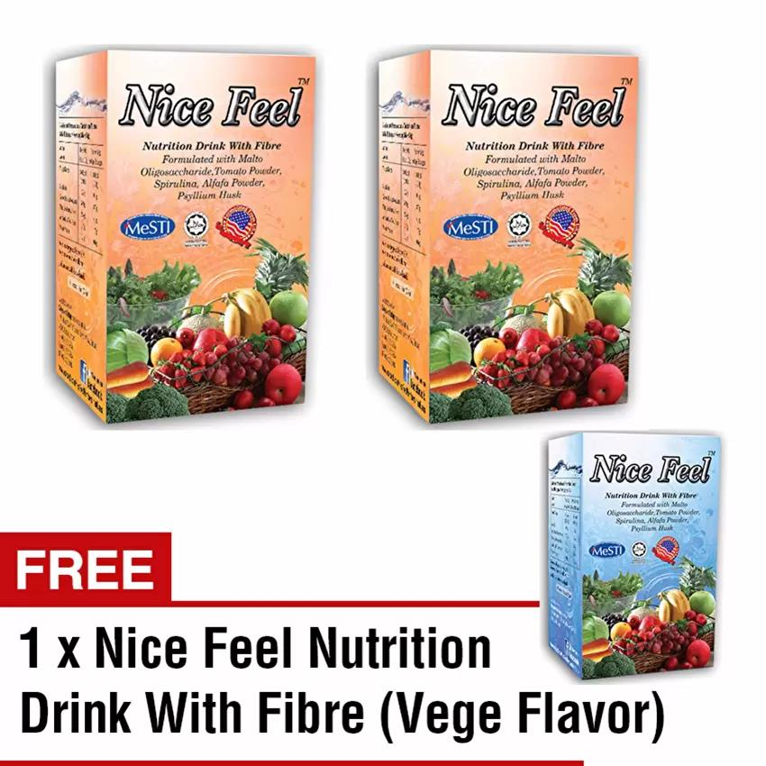 Buy 2 Free 1 Nice Feel Fiber Nutrition Drink (2 Orange + 1 Vege Flavor
