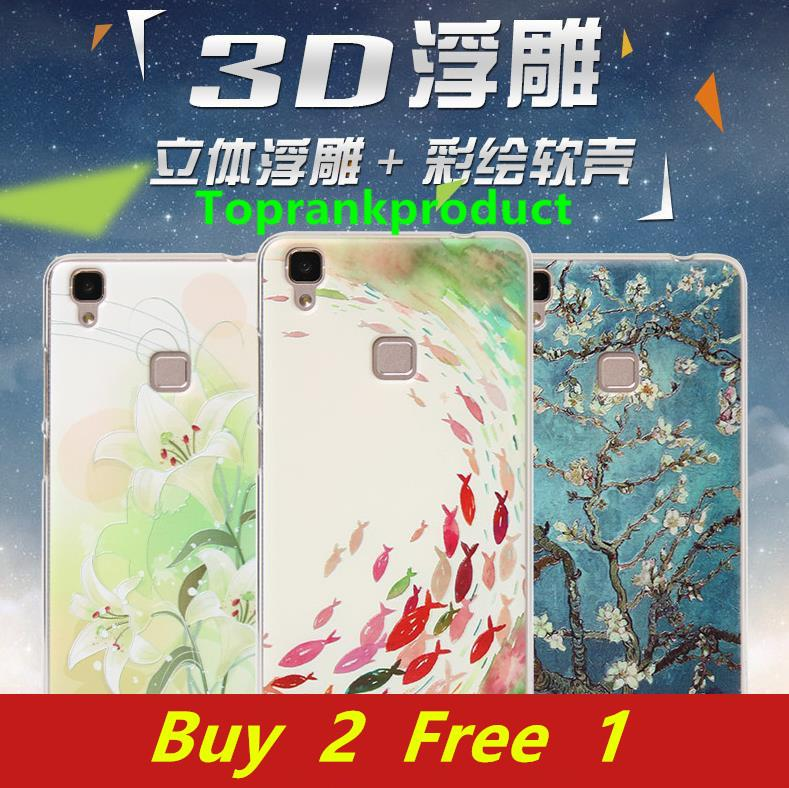 Buy 2 Free 1 @ ViVO V3 3D Relief Silicone TPU Back Case Cover Casing
