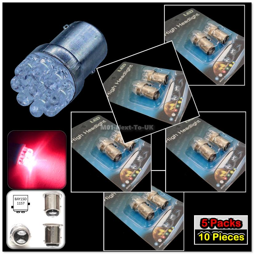 [Buy1Free1] 10x RED 9 LED 1157 Bulb G18.5 G18 BAY15D BASE Auto Light L