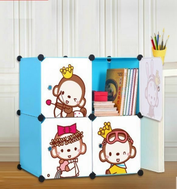 Cabinet 4 Cubes monkey BOOKSELF DIY Storage Box -D2