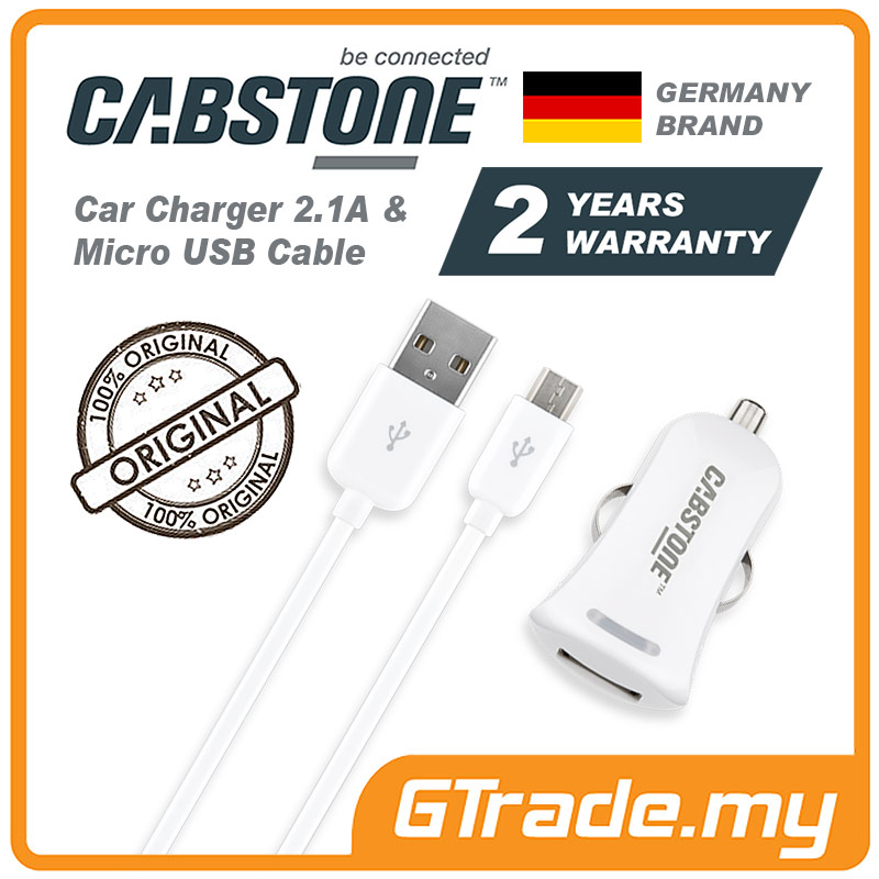 CABSTONE 2.1A Car Charger & Micro USB Cable HTC 10 One A9 M9+Plus M8