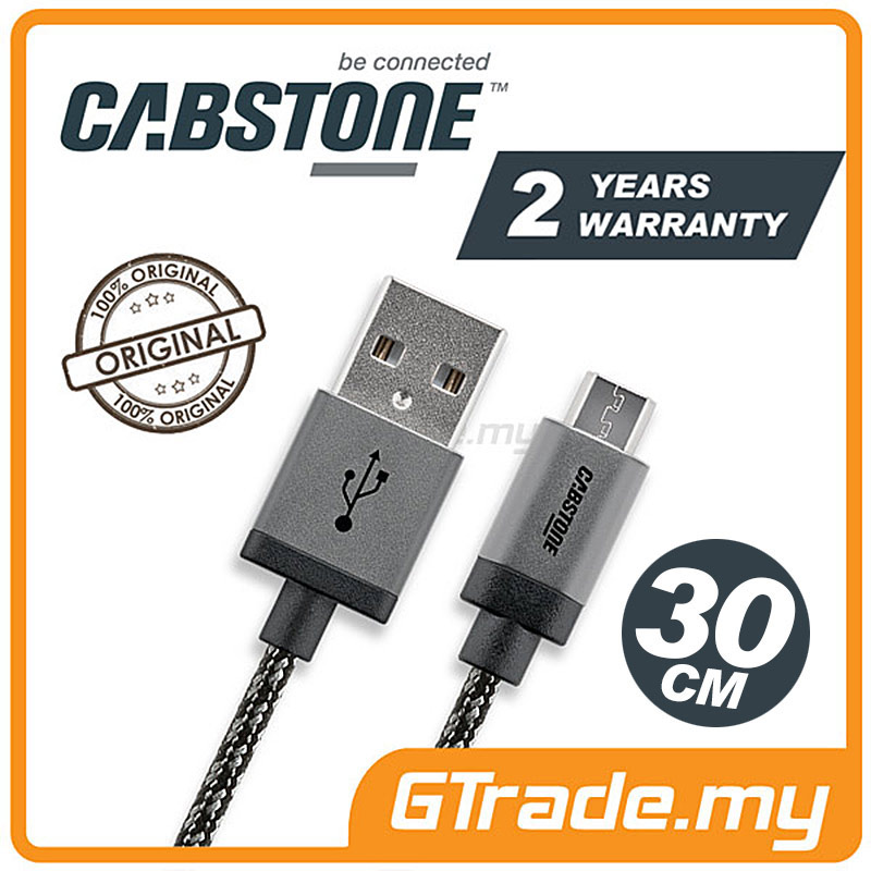 CABSTONE 30CM Metal Charger Micro USB Cable Samsung Galaxy Note Tab S