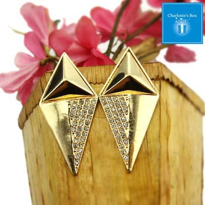 CAER0031-Gold Elegant Diamond Ear Studs Accessories