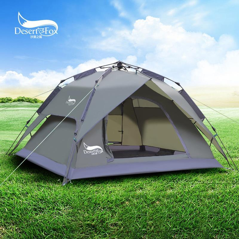 Camping Tent Outdoor Automatic Waterproof Desert Fox (Grey)