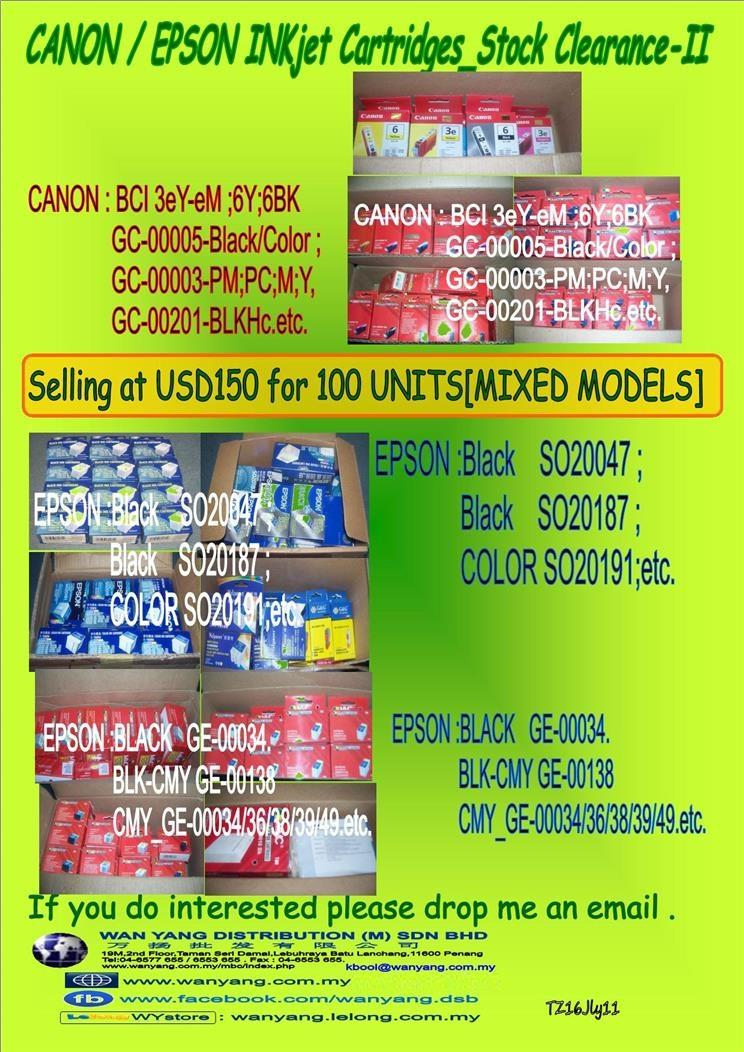 CANON / EPSON INKjet Cartridges Stock Clearance II
