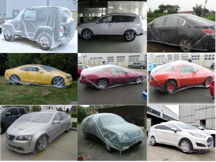 Car Cover Transparent PE Plastic Disposable Clearly Auto bag pack