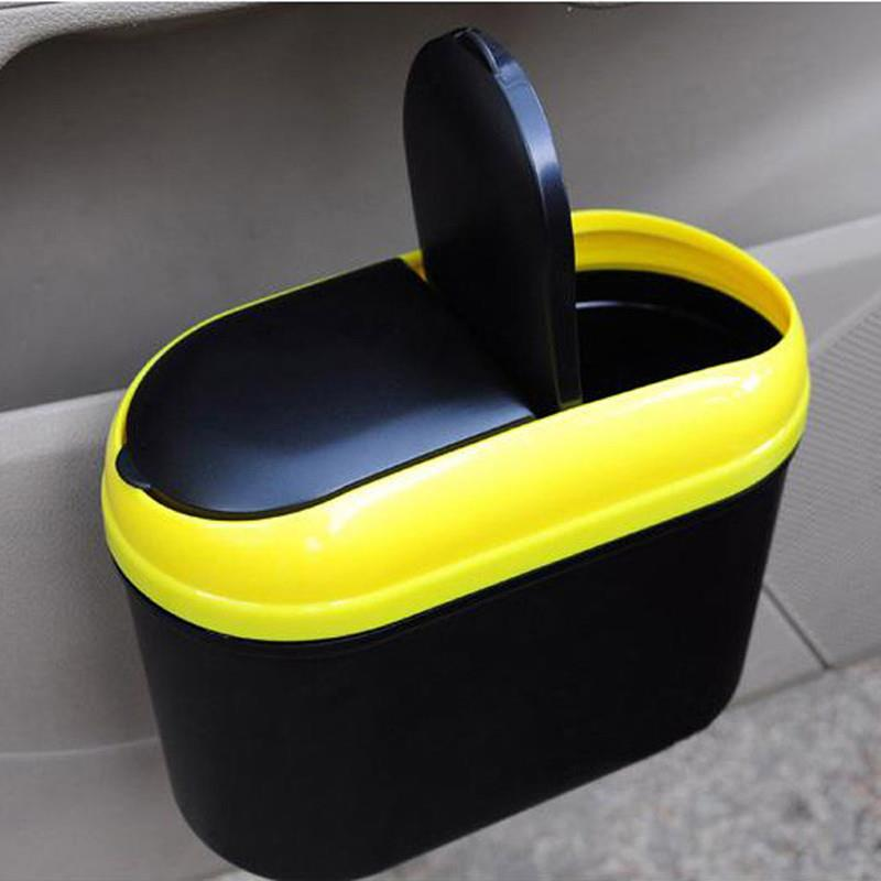 Car Dustbin Waste Basket Rubbish Garbage Container 1.2L Car Trash Bin