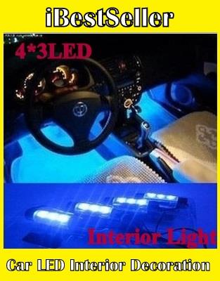 Car LED Interior Decoration Under Dash Floor LED Light Strip Lamp Blue