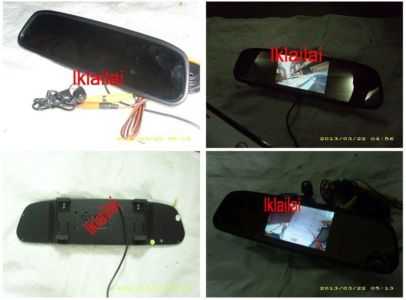 "Car Rearview Mirror with in-built 4.3"" TFT Monitor + Reverse Camera"
