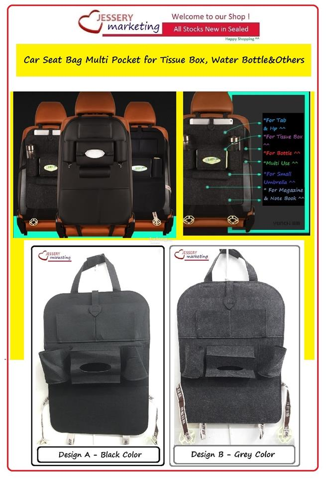 Car Seat Bag Multi Pocket for Tissue Box. Bottle & Others-Ready Stock
