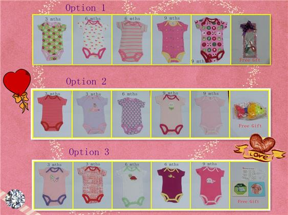 Carters Baby Rompers Combination for 3 mths, 6 mths & 9 mths - Girl
