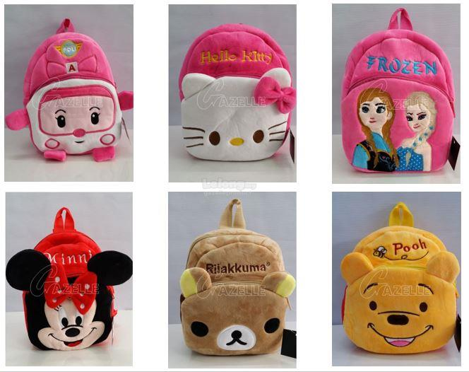 Cartoon Themed Fluffy Kids Backpack- Pooh