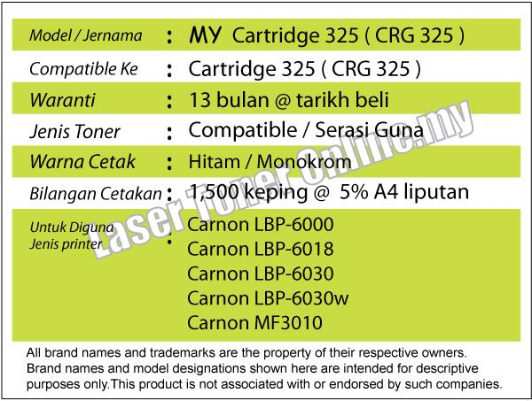 MY Cartridge 325/CRG/CRG325 Toner@Compatible Canon-MF3010/Cartridge325