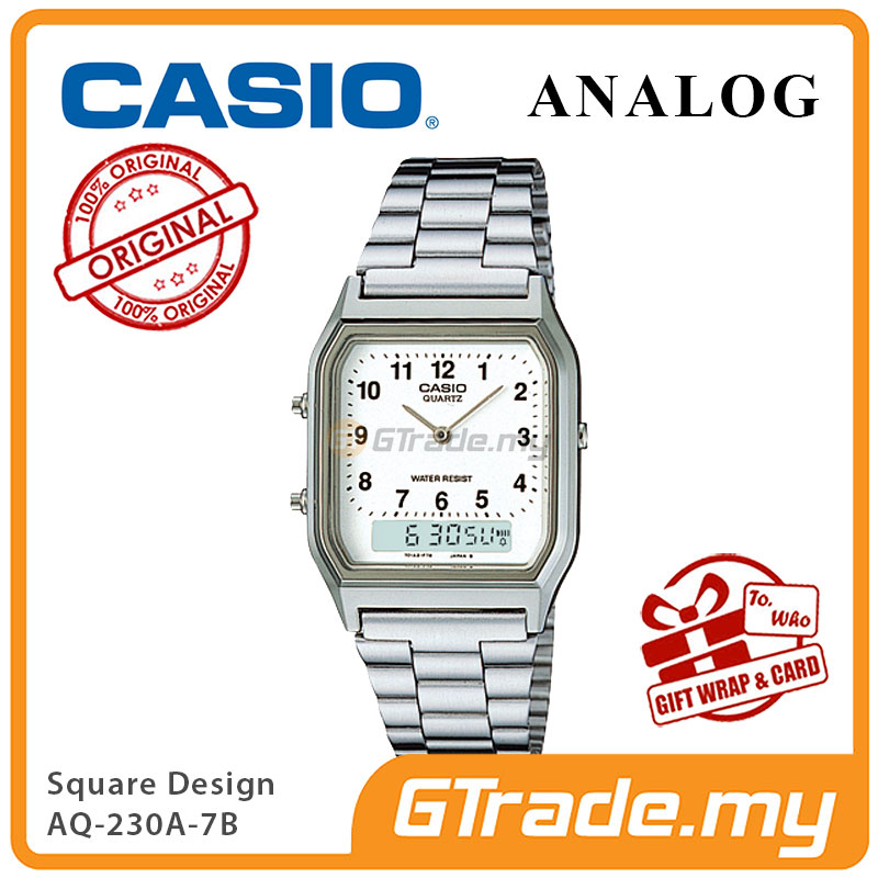 CASIO ANALOG DIGITAL Watch AQ-230A-7B | Square Design Dual Time
