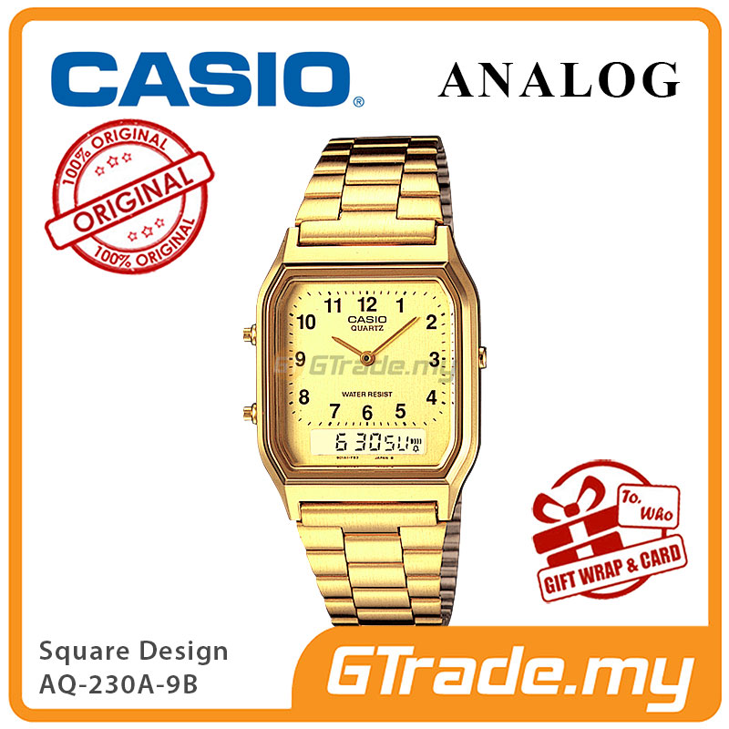 CASIO ANALOG DIGITAL Watch AQ-230GA-9B | Square Gold Design Dual Time