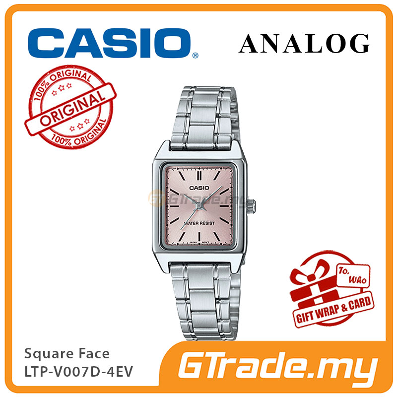 CASIO ANALOG LTP-V007D-4EV Ladies Watch | Square Face Steel Band