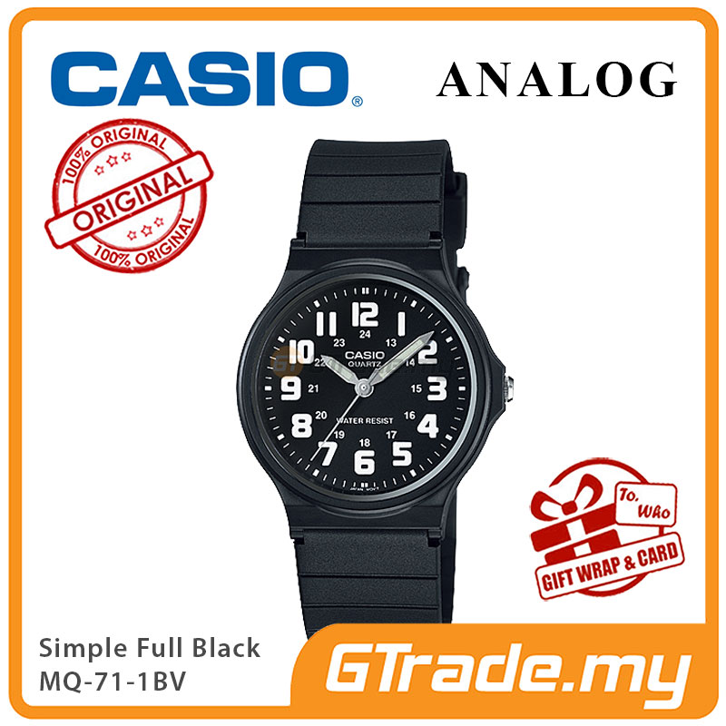 CASIO ANALOG Men Watch MQ-71-1BV | Simple Full Black