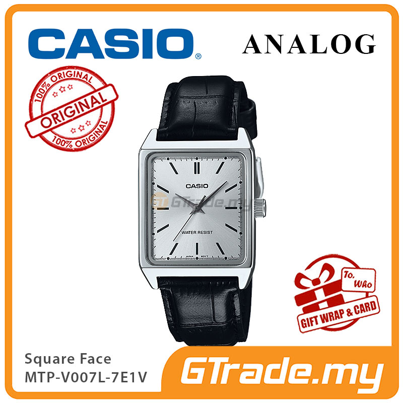 CASIO ANALOG MTP-V007L-7E1V Men Watch | Square Face Leather Band