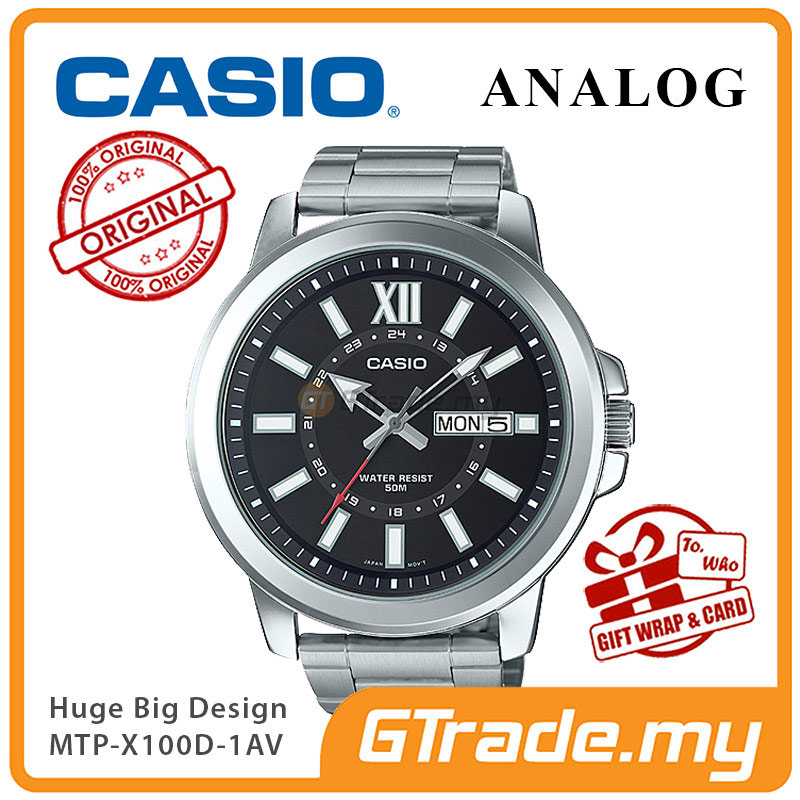 CASIO ANALOG MTP-X100D-1AV Mens Watch | Day Date Huge Sporty Design