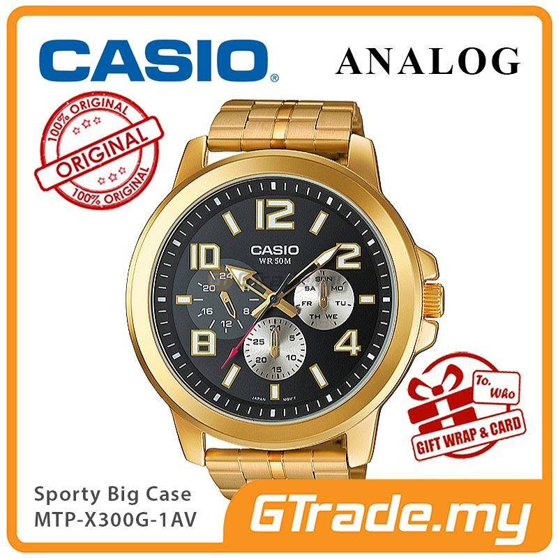 CASIO ANALOG MTP-X300G-1AV Mens Watch | Gold Ion Plate Large Case