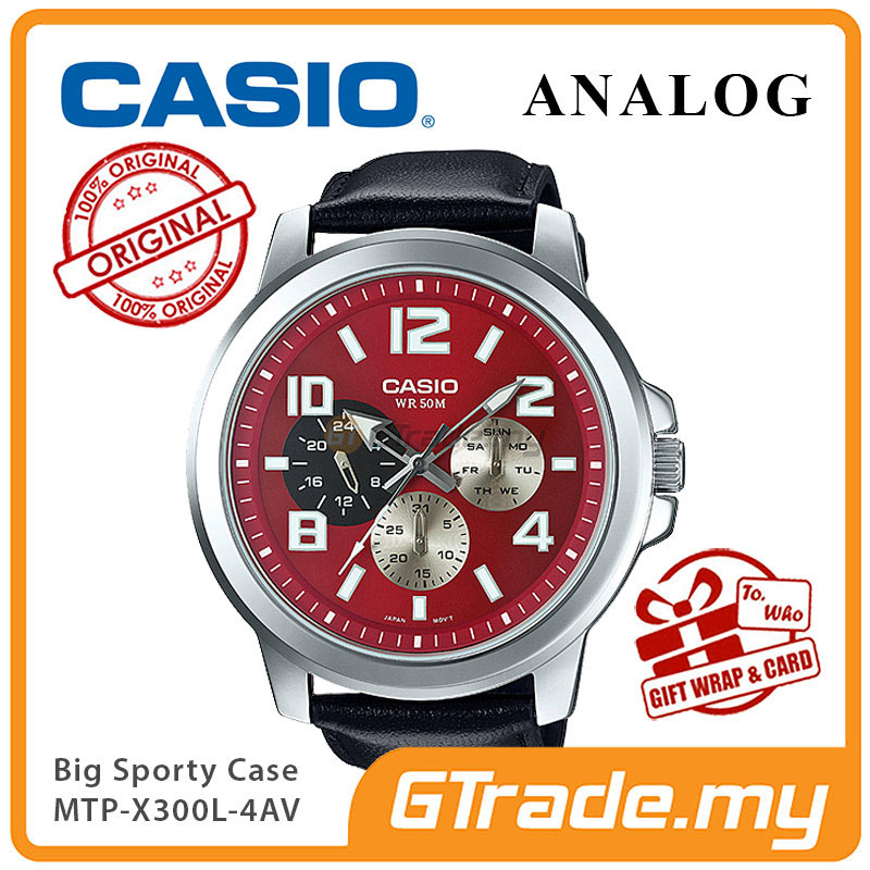 CASIO ANALOG MTP-X300L-4AV Mens Watch | Big Case Multi-Hands