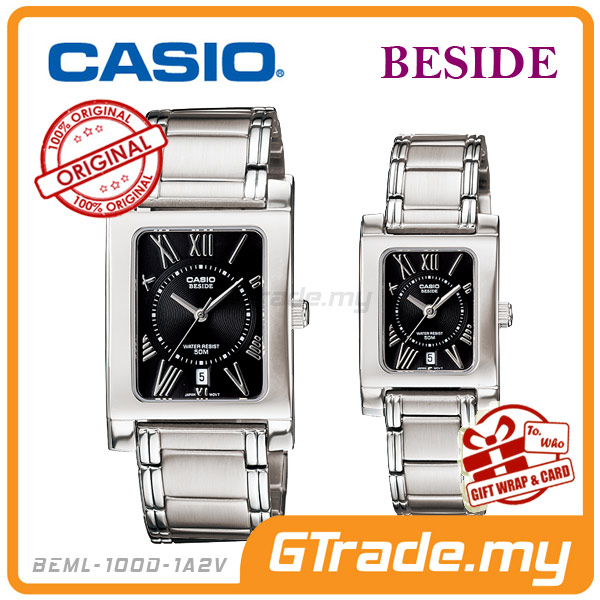 CASIO BESIDE BEM-100D-1A2V & BEL-100D-1A2V Analog Couple Watch