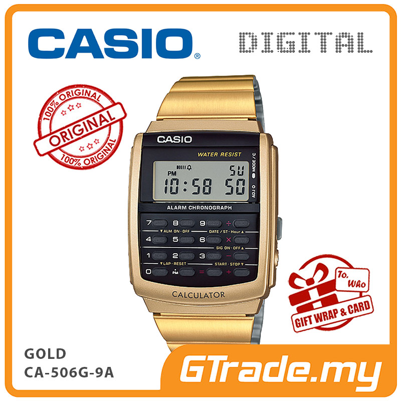 CASIO Calculator Watch CA-506G-9A Digital Gold Steel Strap Dual Time