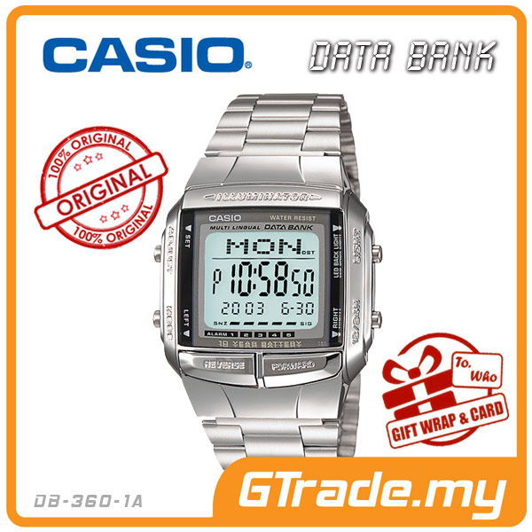 CASIO DATA BANK DB-360-1A Digital Watch | 30 Telememo 10 Yrs Batt.