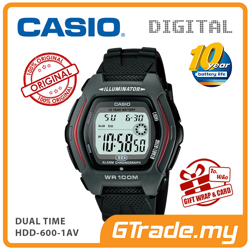 CASIO DIGITAL HDD-600-1AV Watch | Dual Time 10 Years Battery Life