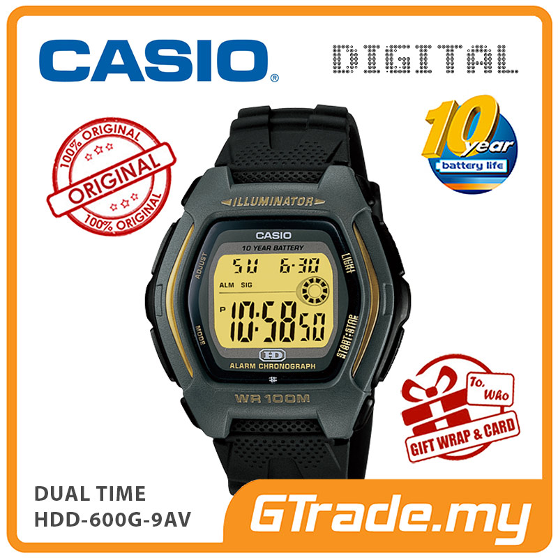 CASIO DIGITAL HDD-600G-9AV Watch | Dual Time 10 Years Battery Life