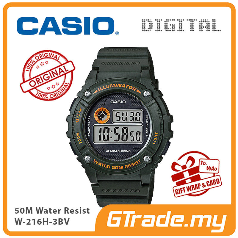 CASIO DIGITAL W-216H-3BV Watch | Alarm 50 Meter Water Resist