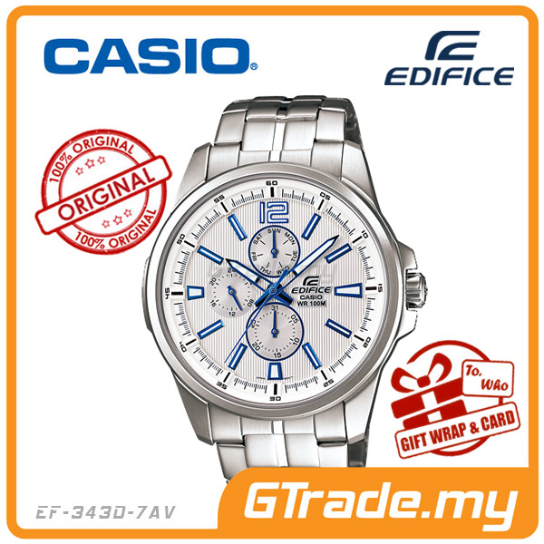 CASIO EDIFICE EF-343D-7AV Multi-Hand Watch | 24 Hours Day Date Display