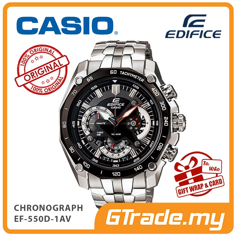 CASIO EDIFICE EF-550D-1AV Chronograph Watch | Retrograde Rotary Disc