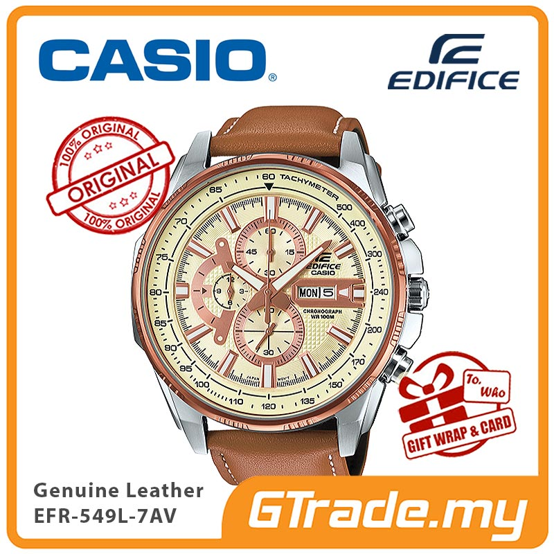 CASIO EDIFICE EFR-549L-7AV Chronograph Watch | Large Genuine Leather