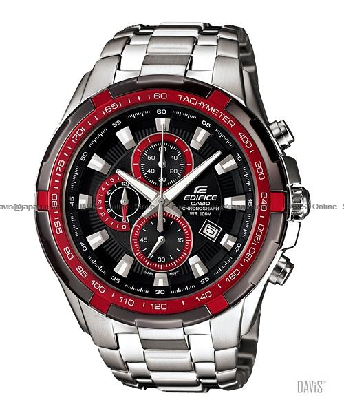 CASIO EF-539D-1A4V EDIFICE chronograph date SS bracelet black red