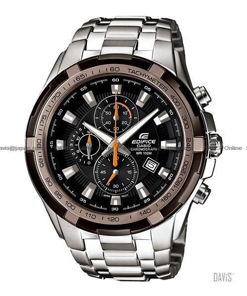 CASIO EF-539D-1A9V EDIFICE chronograph date SS bracelet black brown