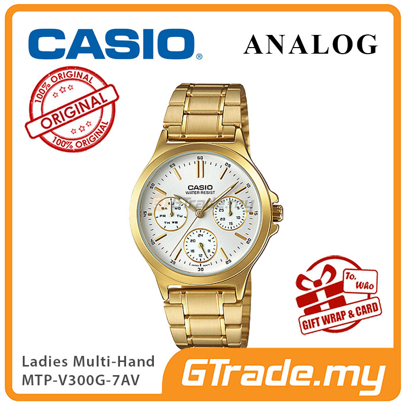 CASIO LADIES LTP-V300G-7AV Analog Watch | Multi-Hand Water Resistant