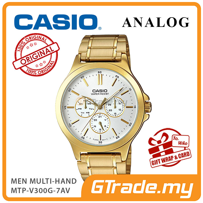 CASIO MEN MTP-V300G-7AV Analog Watch | Multi-Hand Water Resistant