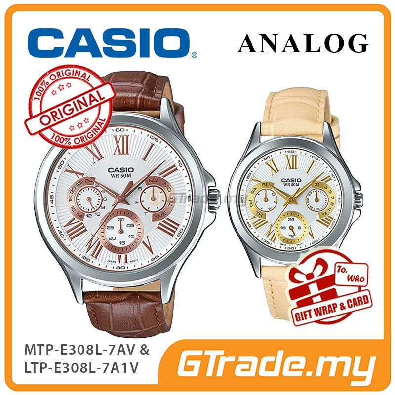 CASIO MULTI-HANDS MTP-E308L-7AV & LTP-E308L-7A1V Analog Couple Watch