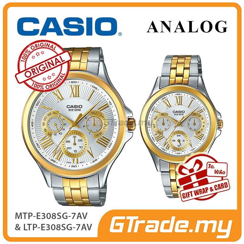 CASIO MULTI-HANDS MTP-E308SG-7AV & LTP-E308SG-7AV Analog Couple Watch