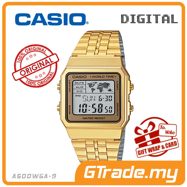 CASIO STANDARD A500WGA-9 Digital Watch | Vintage Alarm World Map
