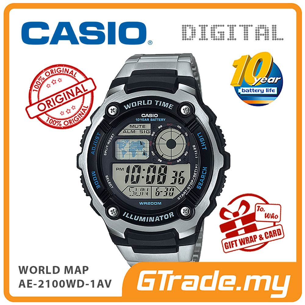CASIO STANDARD AE-2100WD-1AV Digital Watch | World Map 10 Years Batt.