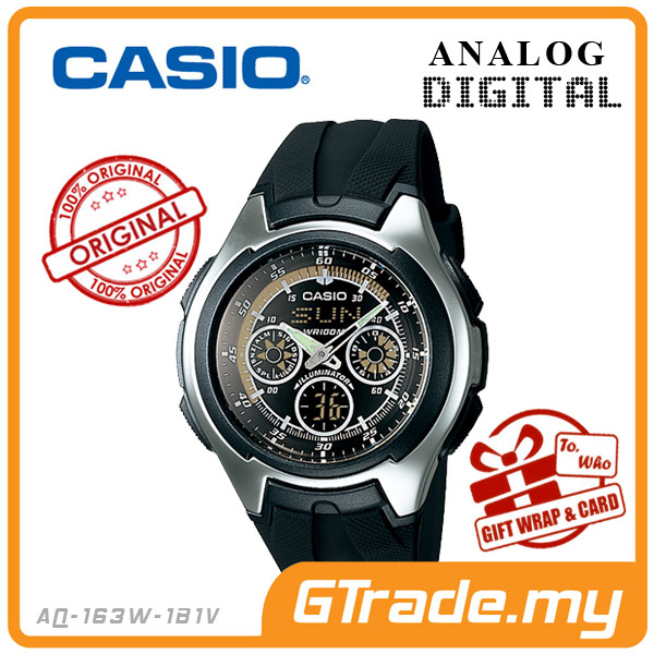 CASIO STANDARD AQ-163W-1B1V Analog Digital Watch | Active Dial Alarm